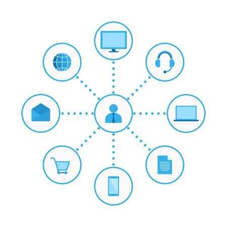 Vektor für graphics, flat icons. Digital Marketing Illustration - Lizenzfreies Bild