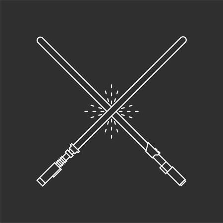 Ilustración de Two light swords on black background. Vector illustrations - Imagen libre de derechos