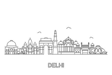 Illustration pour New Delhi skyline. Line art illustration with famous buildings. - image libre de droit