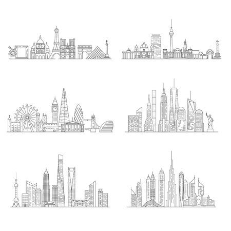 Photo pour Cities skylines set. New York, London, Paris, Berlin, Dubai, Shanghai Vector illustration line art style - image libre de droit