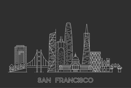 Ilustración de San Francisco skyline, USA. Line art style illustration - Imagen libre de derechos