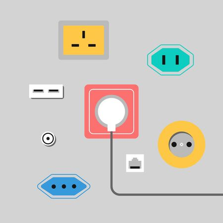 Illustration with sockets. Different sockets worldwide.