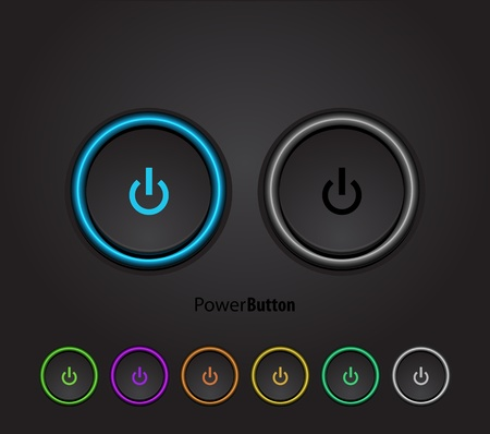 Illustration pour Black led light power button - image libre de droit