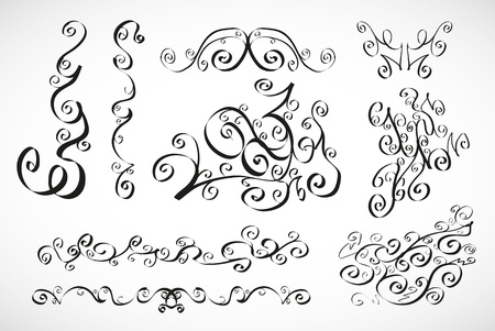 Vector calligraphic design elements  smooth floral lines