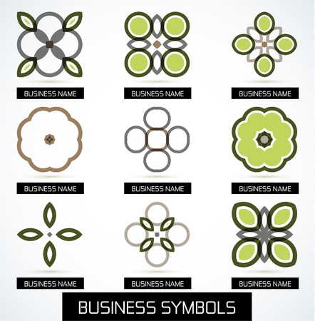 Abstract business green geometric symbols icon set