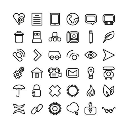 Web line icon set. Thin icons