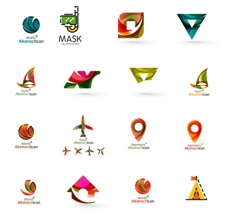 Set of abstract travel logo icons. Business, app or internet web symbols. Thin lines and colors with white
