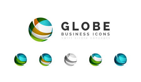 Set of globe sphere or circle  business icons.