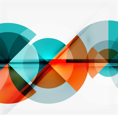 Ilustración de Geometric design abstract background - multicolored circles with shadow effects. Fresh business template - Imagen libre de derechos