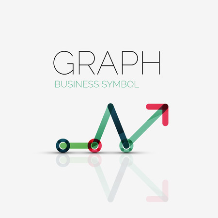 Vector abstract logo idea, linear chart or graph  business icon. Creative logotype design template made of overlapping multicolored line segments