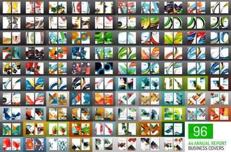 Illustration pour Mega collection of 96 vector annual report covers. Business geometric brochure templates - image libre de droit
