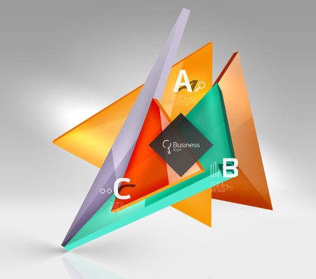 3d triangle modern composition