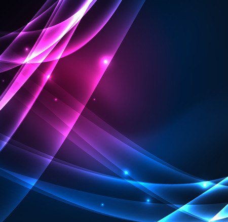 Illustration pour Energy lines, glowing waves in the dark, vector abstract background - image libre de droit