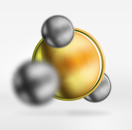 Tech blurred spheres and round circles with glossy and metallic surface