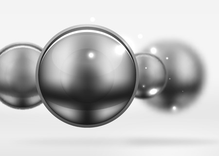 Tech blurred spheres and round circles with glossy and metallic surface.