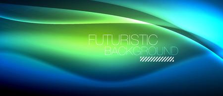 Illustration pour Neon glowing wave, magic energy and light motion background. Vector wallpaper template - image libre de droit