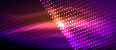 Illustration pour Neon light effects, particles, big data illustration concept, vector, purple color - image libre de droit