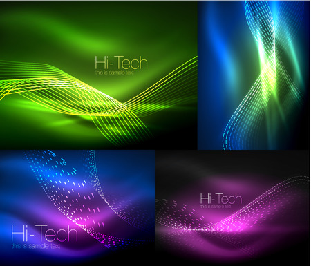 Set Of Multicolored Neon Smoke Particles Waves Vector