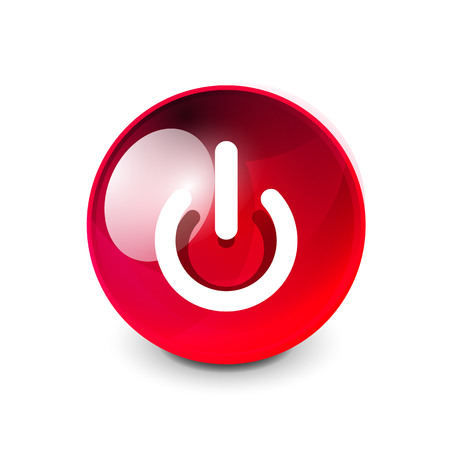 Power button icon, start symbol in red glass sphere button.