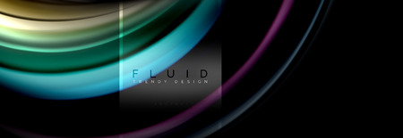 Illustration for Fluid colors abstract background colorful poster, twisted liquid design on black, colorful marble or plastic wave texture backdrop, multicolored template for business or technology presentation or web brochure cover layout, vector wallpaper - Royalty Free Image