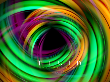 Illustration pour Fluid smooth wave abstract background, flowing glowing color motion concept, trendy abstract layout template for business or technology presentation or web brochure cover, wallpaper - image libre de droit