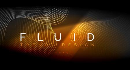 Illustration pour Neon glowing fluid wave lines, magic energy space light concept, abstract background wallpaper design, vector ripple texture illustration - image libre de droit