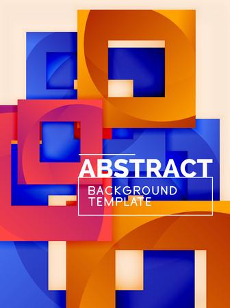 Illustration pour Color square composition with text. Geometric abstract background. Vector illustration - image libre de droit