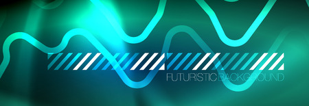 Illustration pour Neon glowing techno lines, hi-tech futuristic abstract background template with square shapes - image libre de droit