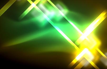 Illustration pour Neon shiny light lines on black, techno modern template, modern design - image libre de droit