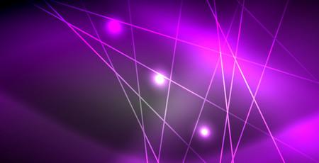 Illustration pour Neon glowing lines, magic energy space light concept, abstract background wallpaper design, vector illustration - image libre de droit