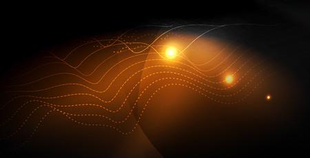 Illustration pour Glossy shiny glowing neon waves, magic space concept template - image libre de droit