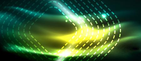 Illustration pour Dark background with neon glowing elements, shiny motion concept, vector - image libre de droit