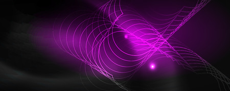 Illustration pour Shiny neon techno template. Neon lines background, 80s style laser rays. Vector - image libre de droit