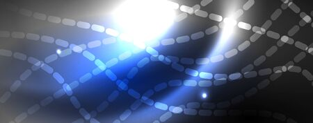 Illustration pour Neon vector wave lines abstract background, magic futuristic techno design, vector motion concept - image libre de droit