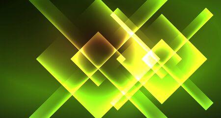 Illustration pour Shiny neon design square shape abstract background. Retro vector abstract design banner template - image libre de droit