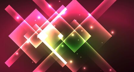 Illustration pour Neon geometric abstract background in hipster style on light background. Space retro design. Color geometric pattern. Square shape abstract background. - image libre de droit