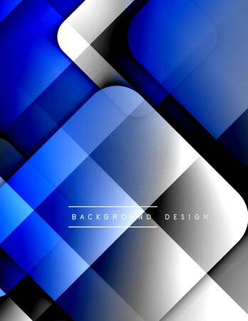 Illustration pour Rounded squares shapes composition geometric abstract background. 3D shadow effects and fluid gradients. Modern overlapping forms. - image libre de droit