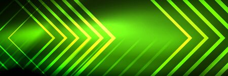 Illustration pour Shiny neon glowing techno lines, hi-tech futuristic abstract background template with square shapes - image libre de droit