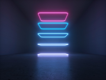 3d Abstract Background Render Tunnel Neon Lights Virtual