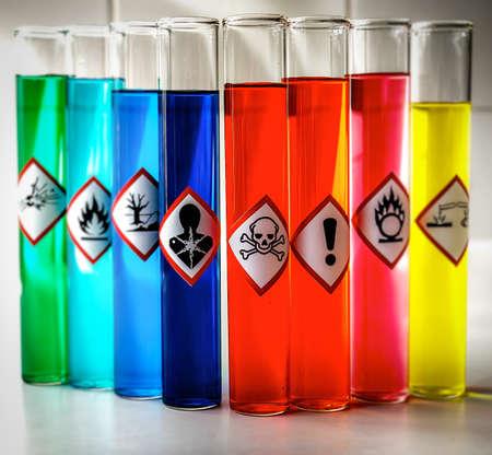 Photo pour Aligned Chemical Danger pictograms - Toxic - image libre de droit