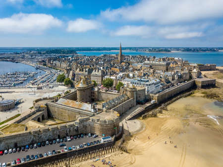 Aerial view of the Saint Malo, city of Privateers - in Brittany, France