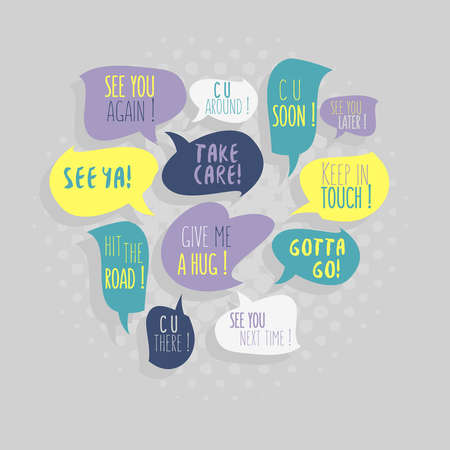 Illustration pour Most Common Used Typical Good-Bye Phrases On Speech Flat Style Vector Bubbles. - image libre de droit