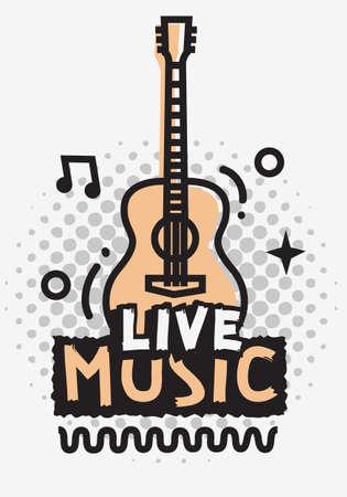 Illustration pour Live Music In The Concert Vector Design With Acoustic Guitar. - image libre de droit