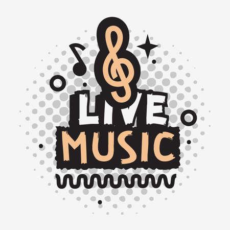 Illustration pour Live Music In The Concert Vector Design With Treble Clef Sign. - image libre de droit