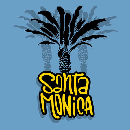 Santa Monica California Design With  Palm Trees Logo Sign Label for Promotion Ads t shirt or sticker Poster Flyer Vector Image.