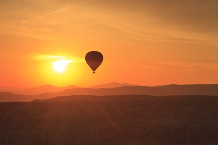 Hot air balloon is flying at