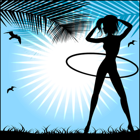 Silhouette of a slender woman doing exercises with hula-hoop against the blue sky and bright sun