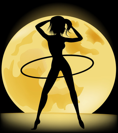 Silhouette of a slender woman doing exercises with hula-hoop in the night sky and the full moon