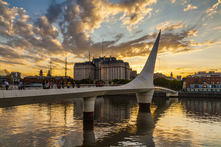 Nice view of the cityscape. Puente de la Mujer. Puerto Madero Neighborhood. Buenos Aires. Argentina.