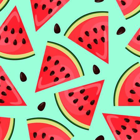 Illustration pour Seamless pattern with pieces of watermelon on blue background. Endless print. Vector illustration. - image libre de droit